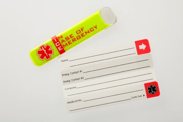 Vital ID worker emergency tags for helmets showing tag