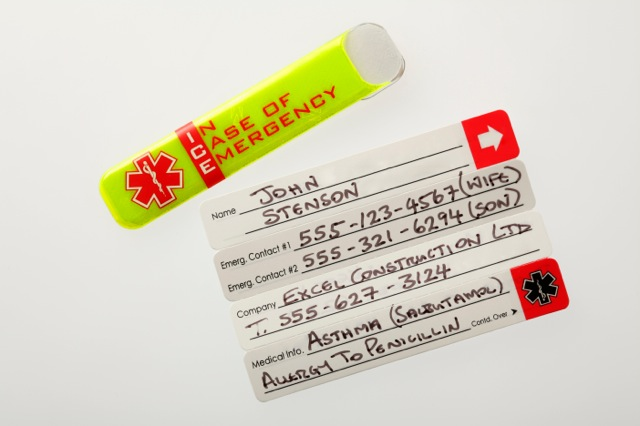 Vital ID worker emergency tags example text