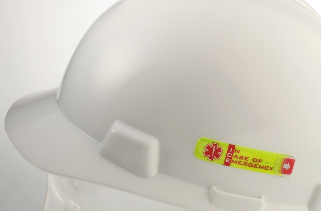 Vital ID worker emergency tags sticks securely to helmets