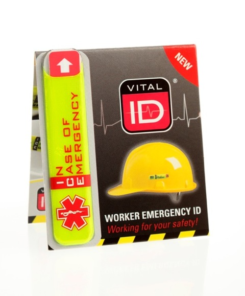 Vital ID worker emergency tags for helmets